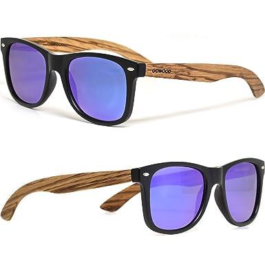 GOWOOD Gafas de sol de madera de cebra para hombre y mujer con frontal negro mate y lentes polarizadas