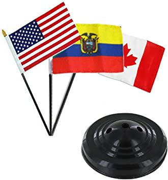 """USA American /& Philippines  Flags 4/""""x6/"""" Desk Set Table Black Base"""