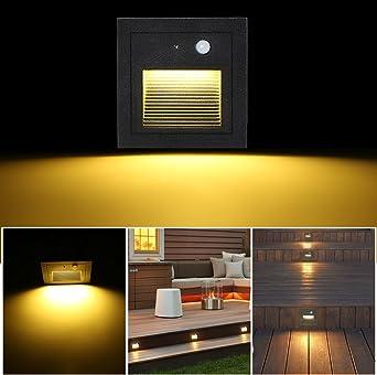SUBOSI Foco Empotrable de Pared LED 3W Lámpara de Pared Lámpara de luz de Escalera Detector de Movimiento Piso Lámpara de Escalera Empotrada Lámpara de Salón 2800K blanco Cálido: Amazon.es: Iluminación