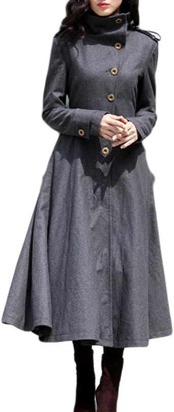 Jaycargogo Mens Overcoat Thick Wool Blend Mid Long Shawl Collar Jacket Pea Coat