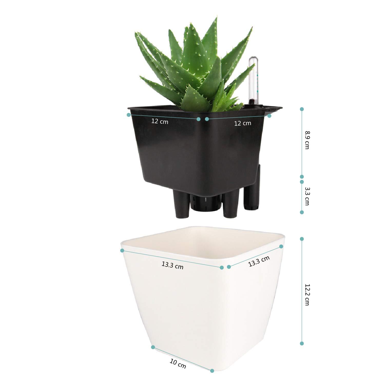 Maceta para Interiores al Aire Libre Jardines de Windowsill Planta Decorativa para Flores Hierbas T4U 13CM Auto Riego Plantador Blanco Cuadrada Paquete de 1