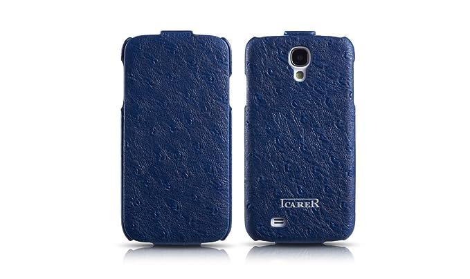 9dc3af9b6 Icarer Fake Ostrich Genuine Leather Case for Samsung Galaxy S4 I9500 (Blue)