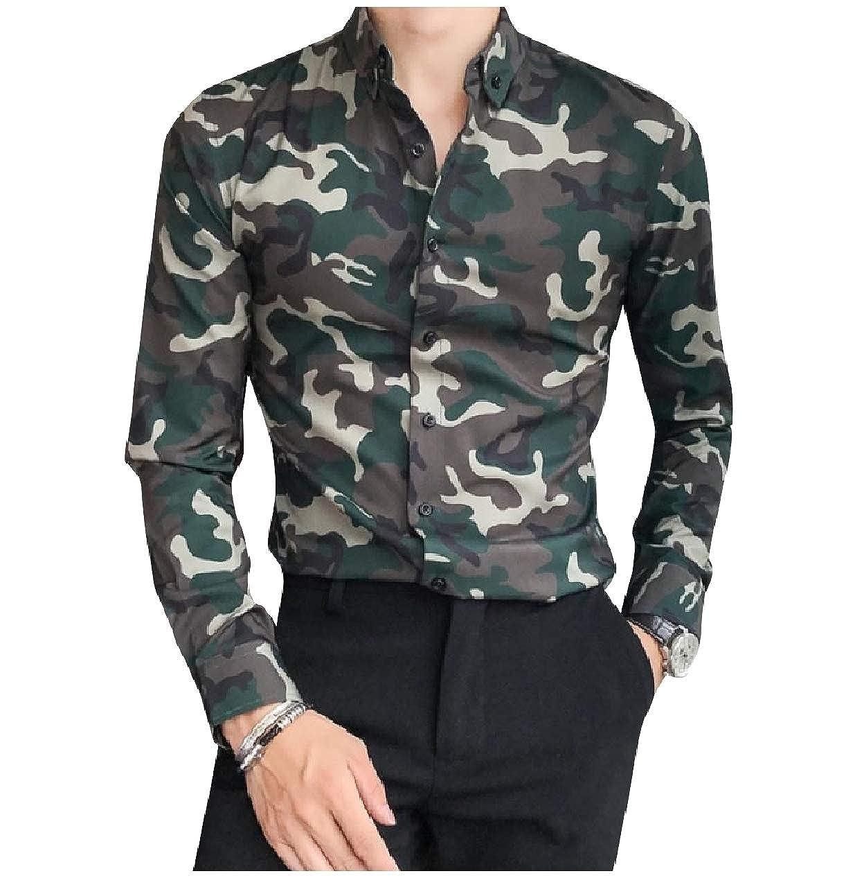 Winwinus Mens Long-Sleeve Camouflage Floral Print Slim Fitted Shirt Tops