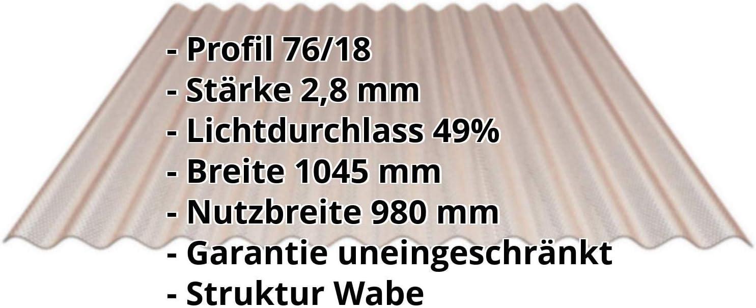 St/ärke 2,8 mm Profil 76//18 Lichtplatte Wellplatte Breite 1045 mm Lichtwellplatte Wabenstruktur Material Polycarbonat Farbe Bronze