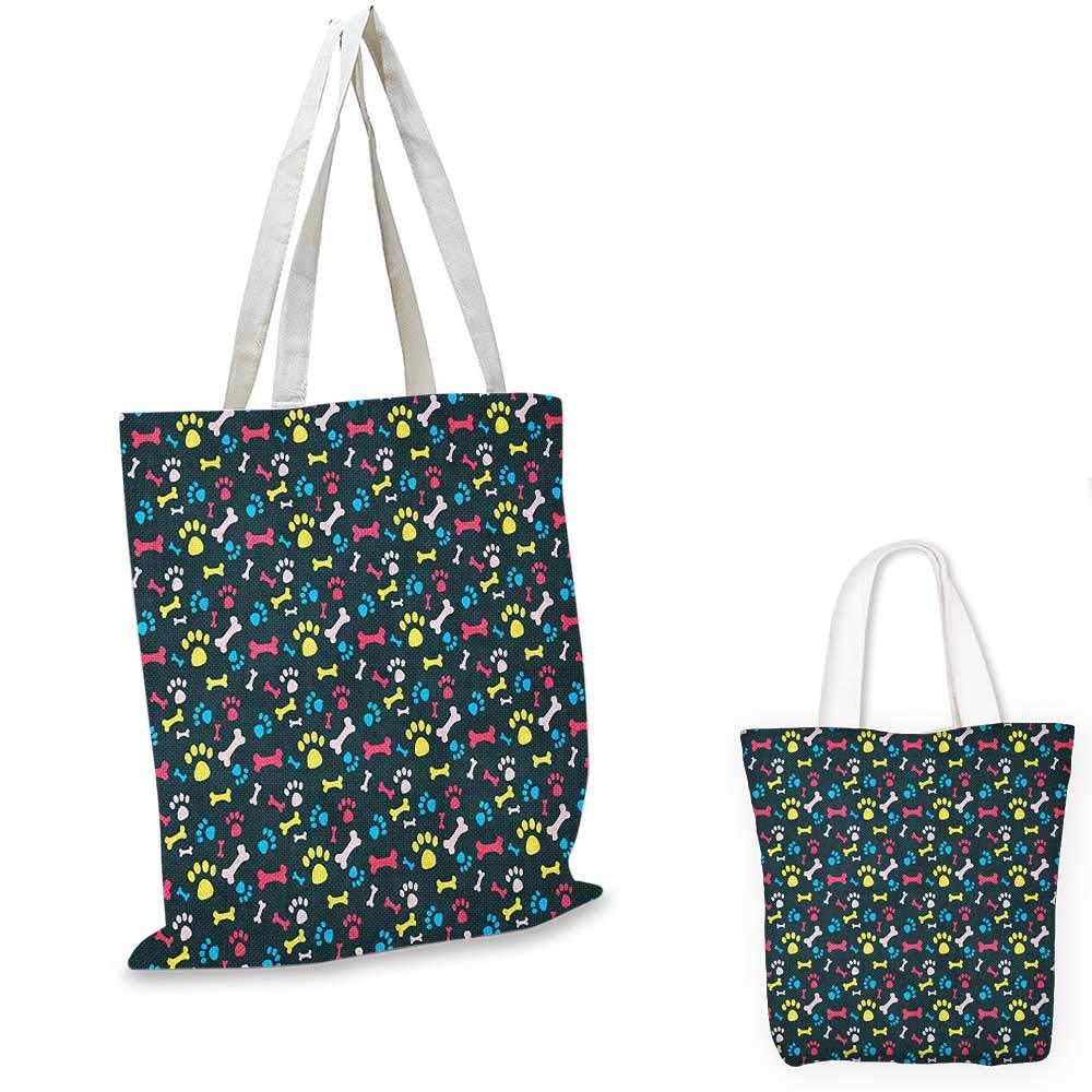 16x18-13 Dog Lover canvas messenger bag Animal Footprint Colorful Abstract Puppy Paws Grunge Elements Paintbrush Effect canvas beach bag Multicolor
