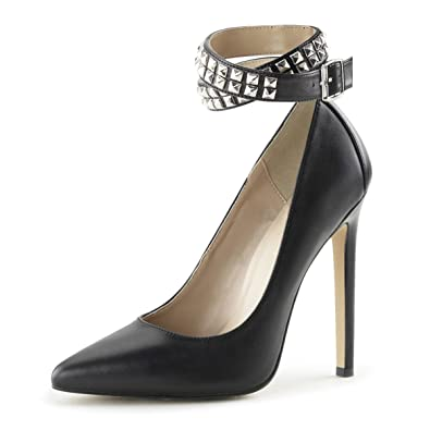 300d298ed8f Summitfashions Womens Black Leather Pumps Studded Ankle Wrap Shoes Stiletto 5  Inch Heels Size  5