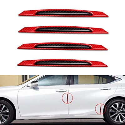 Yuxin Reflective Tape Door Edge Guards Carbon Fiber Pattern Self-Adhesive Warning Safety Reflector Strips Sticker Car Door Protection Strip Universal Auto Replacement Door Protector-4pcs Red: Automotive