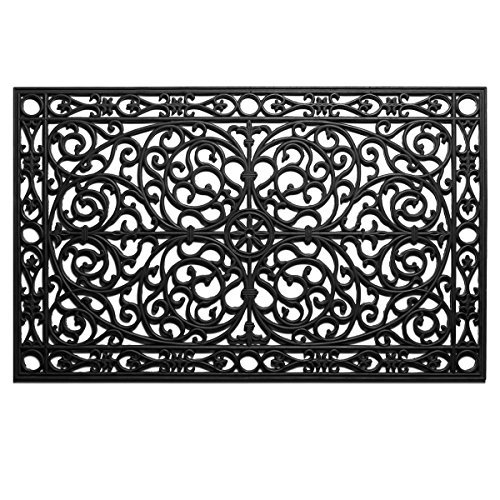 Home & More 900222436 Gatsby Rubber Doormat 2' x 3' (Black Wrought Iron Scroll)