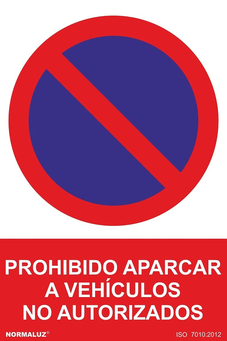 Normaluz RD46638 - Señal Adhesiva Prohibido Aparcar A Vehículos No Autorizados Adhesivo de Vinilo 10x15 cm