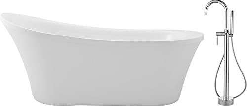 Ove Decors Bathtub Set Soaking Freestanding Acrylic Bahtub Slipper Tub