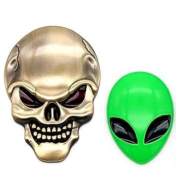Metal 3D Alien Head Car Logo Badge Metal Motorcycle Sticker Waterproof Emblem