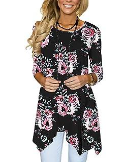 a49d1204d573 MIROL Women s Spring Floral Print 3 4 Sleeve Irregular Hem Asymmetrical  Tunic Loose Long Blouse