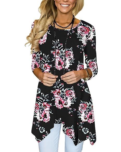 b224eff61df MIROL Women s Spring Floral Print 3 4 Sleeve Irregular Hem Asymmetrical  Tunic Loose Long Blouse