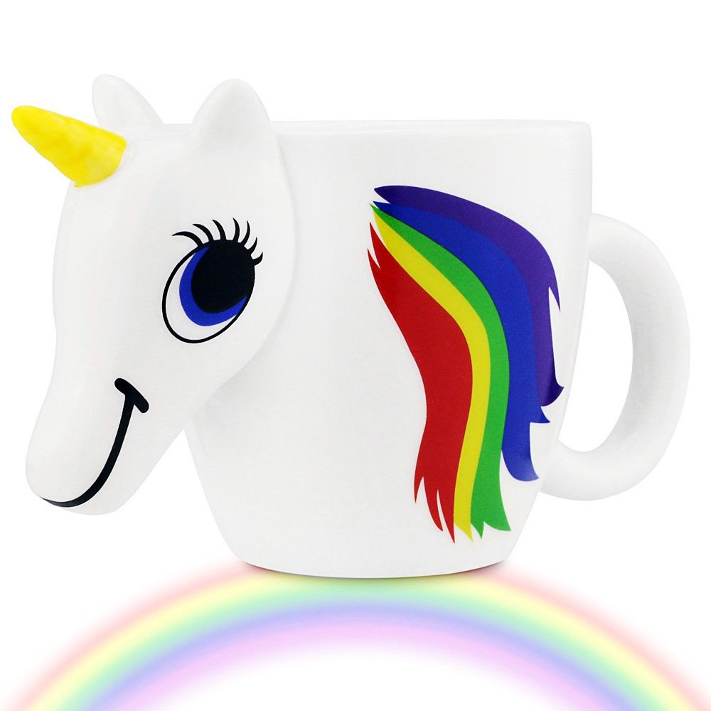 HIBOUR Color Changing Unicorn Mug Heat Sensitive Rainbow Ceramic Coffee Tea Cup