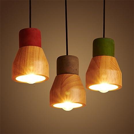 Lámpara colgante SADASD para techo, de madera maciza de ...