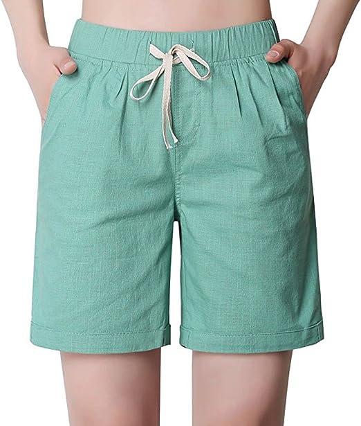 atmosfera gooey Colore rosa  Gooket Bermuda Shorts for Women Loose Elastic Waisted Drawstring Jersey Shorts  Womens | Amazon.com