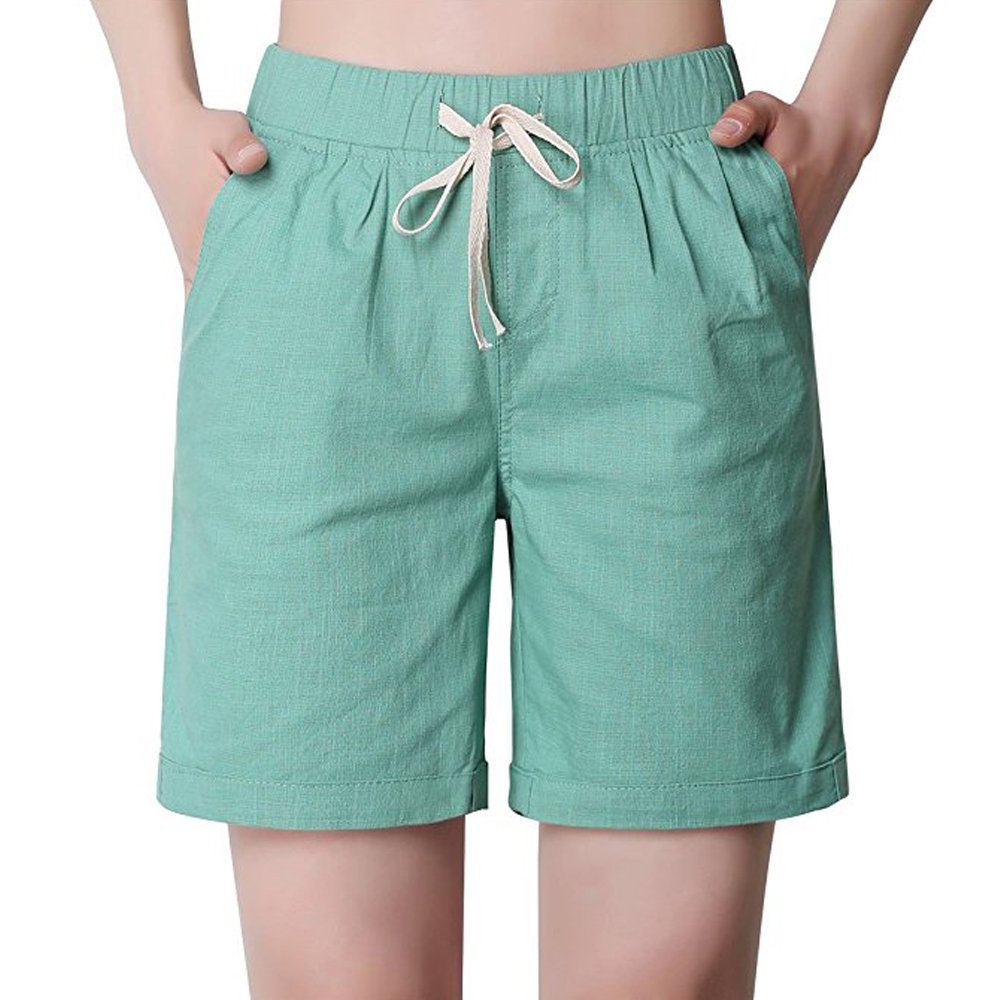 Women's Summer Modest Loose Elastic Waisted Bermuda Drawstring Casual Shorts
