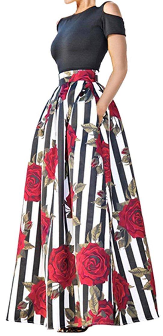 922c4015a7 Galleon - Ladies Black Short Sleeve Tops Skirt Set Floral Stripe Full Long  Maxi Skirts M