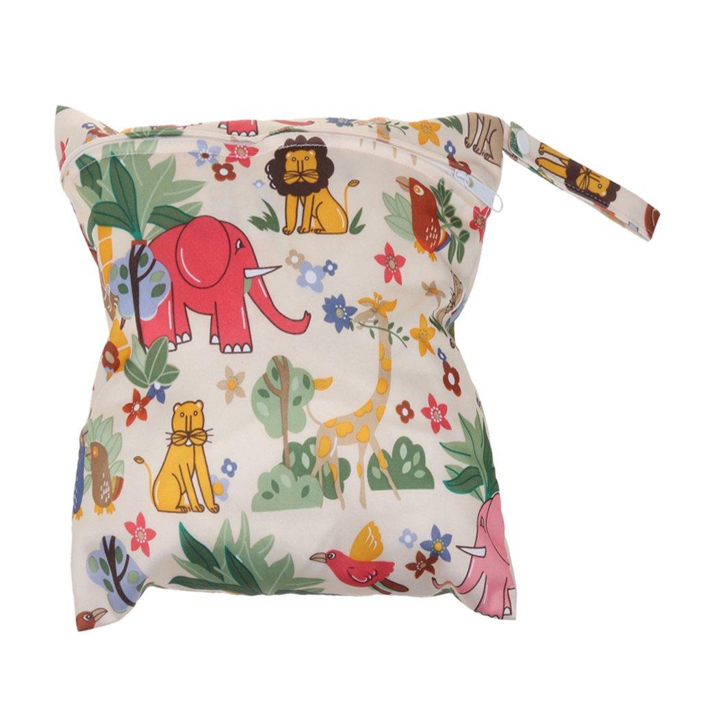 Cute Zipper Waterproof Reusable Baby Cloth Diaper Nappy Wet Dry Storage Bag Tote Animal Print Generic STK0155005598