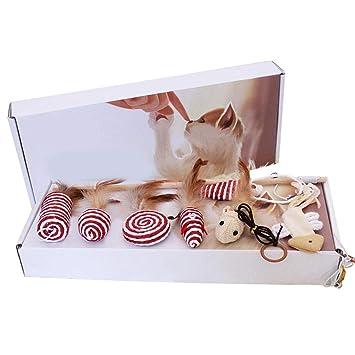 KOBWA - Juego de Juguetes interactivos para Gatos en Caja de Regalo, 7 Piezas,