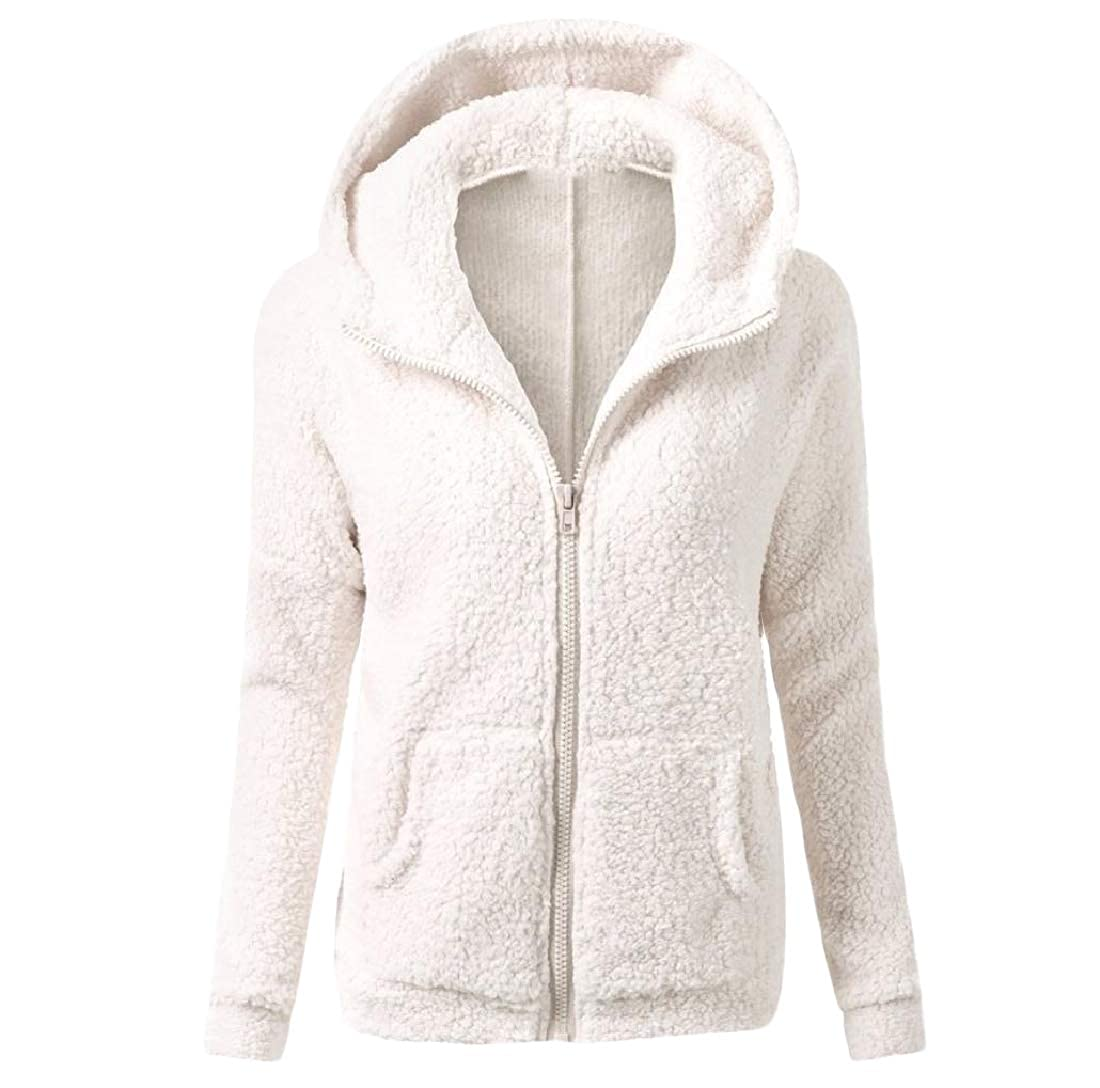 YUNY Womens Faux Fleece Open Front Tops Outwear Fashion Hoodie White XL