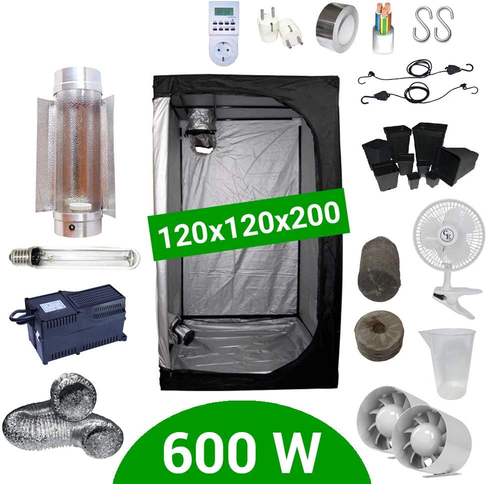 Supacrop Kit de Cultivo Interior 600W SHP Cooltube Protube - Armario 120x120x200 - Balastro Agrolite 2