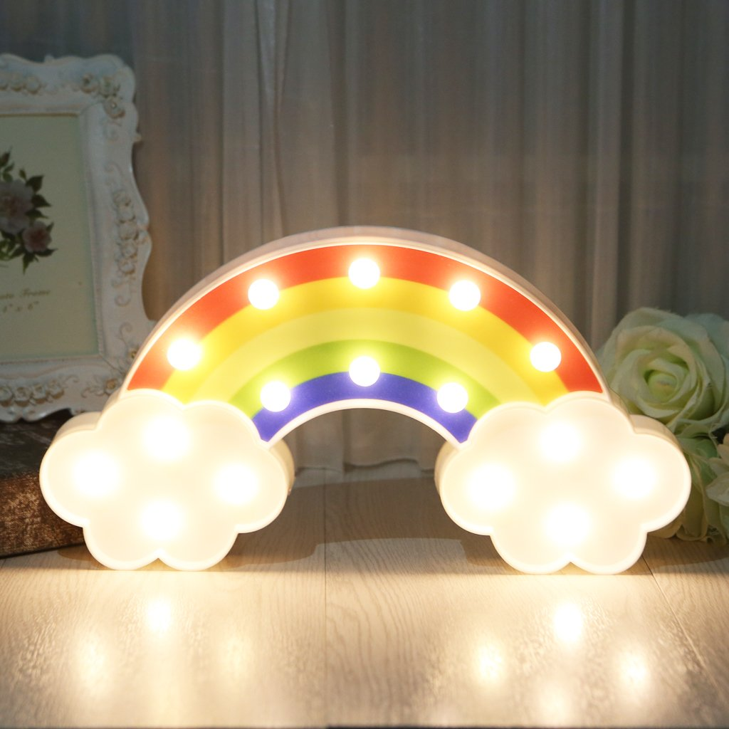 LIYUDL LED Rainbow Warm White Night Light Marquee Sign for Bedside,Room Decor Marquee Lights rainbow Battery Operated for Kids Baby Home Decorations