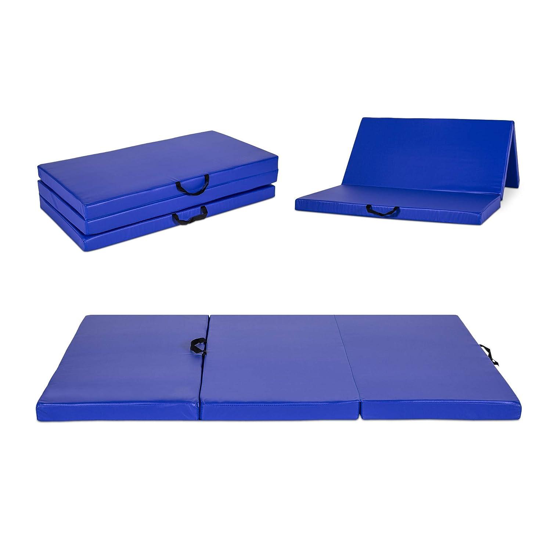 Wilcum Gymnastics Mat Gym Mat Tumbling Mat 3 Panel Folding Thick Exercise Mat PU Leather 4