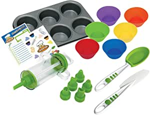 Curious Chef Kids Cookware - 16-Piece Cupcake & Decorating Kit I Real Utensils, Dishwasher Safe, BPA-Free I Non-stick Tin, Liners, Silicone Mixing Spoon, Frosting Spreader, Decorator Tube and More!