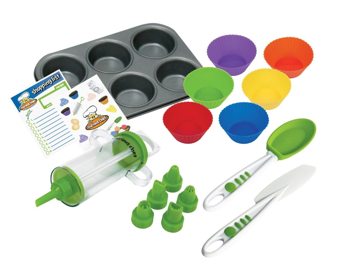 Curious Chef TCC50165 16-Piece Cupcake and Decorating Kit, Child, Multicolored
