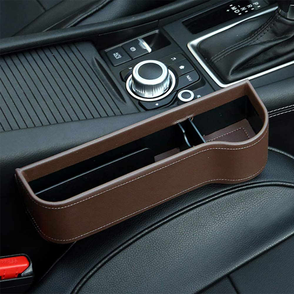 Car Seat Organizer Gap Filler Pocket with Leather Cover Right Portable Universal Multifunctional Car Cup Holder Wedge Gap Catcher Caddy Stopper Storage Box for Cellphones Keys Cards Wallets Black