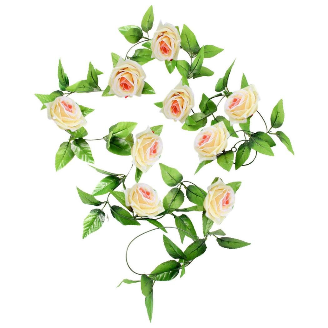 2pcs 8Ft Artificial Fake Silk Rose Flower Ivy Vine Hanging Garland Wedding Decor