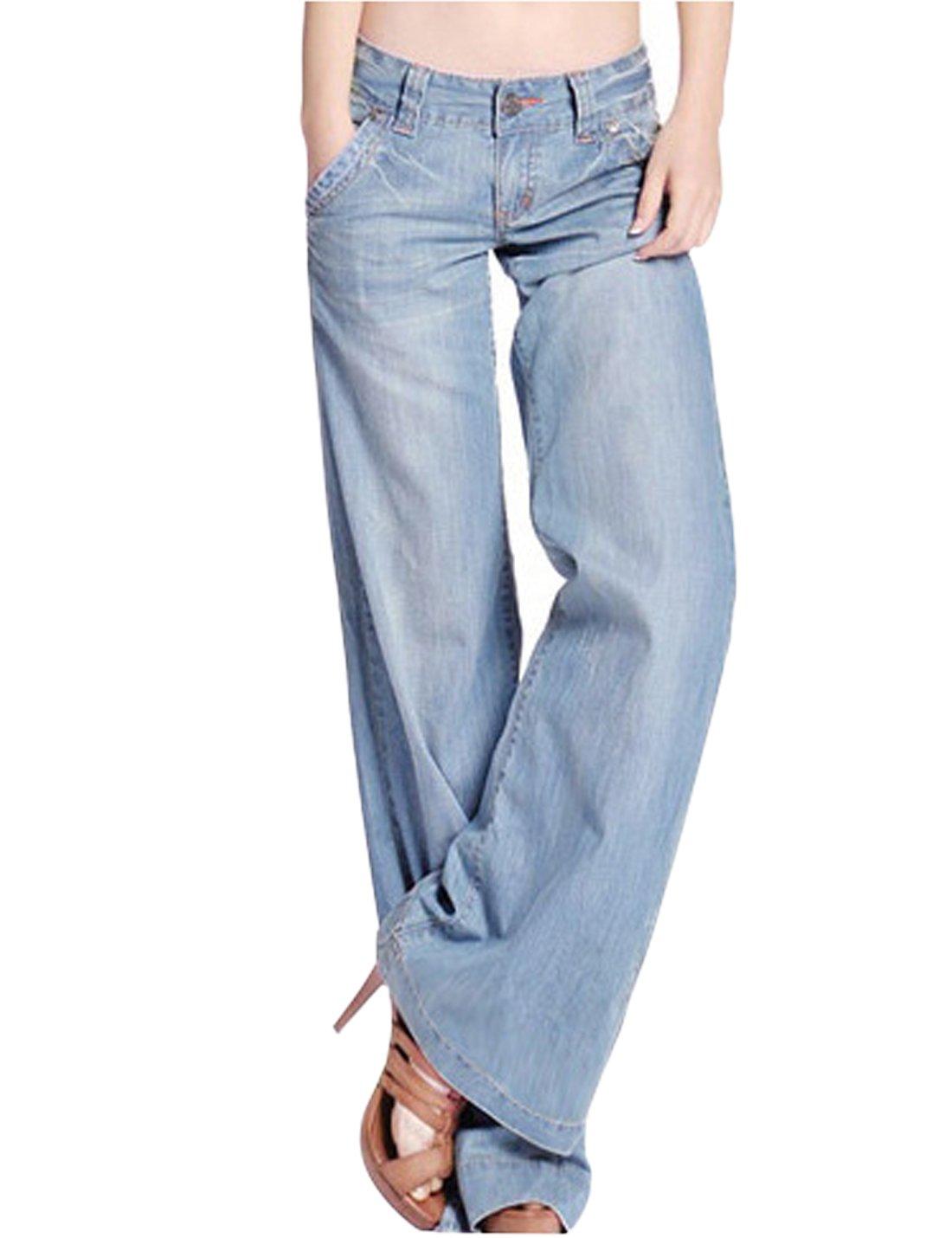 Yeokou Women's 70s Bell Bottom High Waist Wide Leg Loose Flare Jeans Denim Pants (Light Blue, 29)