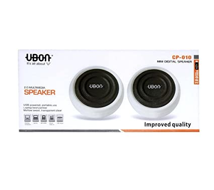 Ubon CP-010 Universal USB Speaker with 3 5mm Audio Input Port for Laptop,  Computer, MP3, MP4, Phone (White and Black)