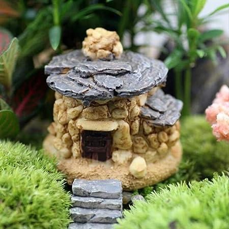 KWOSJYAL 1Pcs Piedra Casa Jardín De Hadas Miniatura Artesanía Micro Cabaña Decoración del Paisaje para Manualidades De Resina DIY B: Amazon.es: Hogar