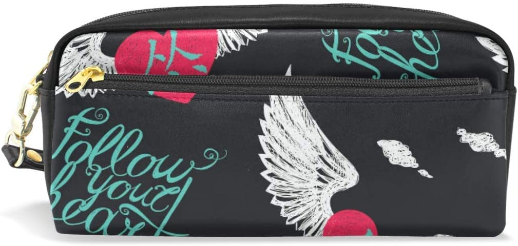 Lettering Wing Heart - Estuche para lápices, diseño de corazón con texto en inglés: Amazon.es: Oficina y papelería