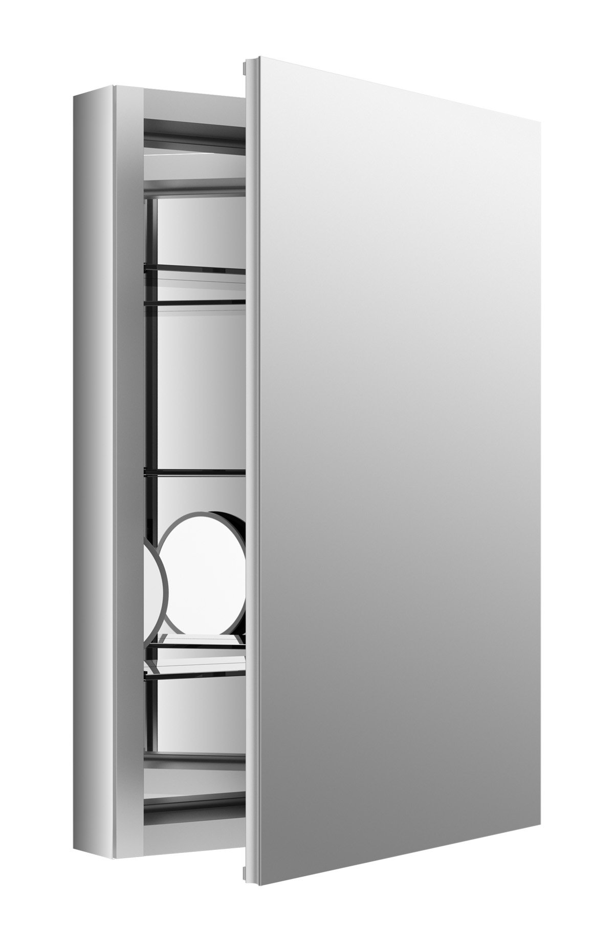 KOHLER 99003-SCF-NA Verdera Aluminum Medicine Cabinet with Adjustable Flip-Out flat Mirror, 20 inch W x 30 inch H Verdera Medicine Cabinet with Adjustable Flip-Out flat Mirror, 20 inch W x 30 inch H