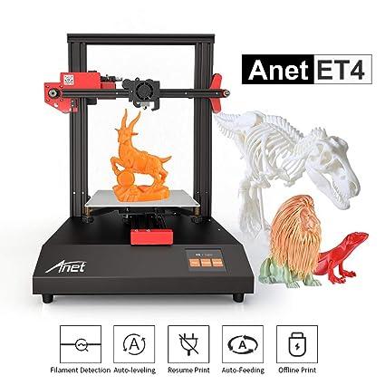 Aibecy Impresora 3D Anet ET4 Estructura de estructura metálica Volumen de construcción 220 * 220 * 250 con pantalla táctil a color de 2,8 pulgadas ...