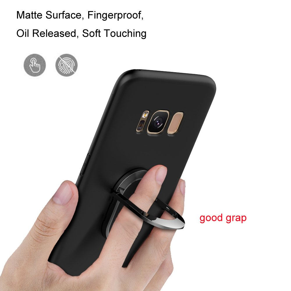 Phone Case for Galaxy S8, Cover Samsung S8 Thin Case with Metal Ring Holder Kickstand Anti-drop Soft Protective Shell Cover for Samsung Galaxy S8(Imported TPU)