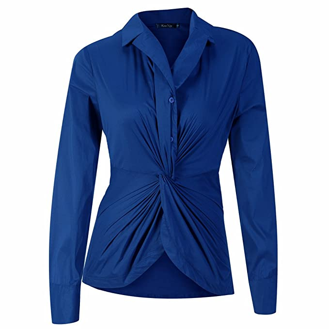 c6b600c6a Image Unavailable. Image not available for. Color: Kaigenina Womens Long Sleeves  Button Down Pullover Stretch Formal Casual Shirt