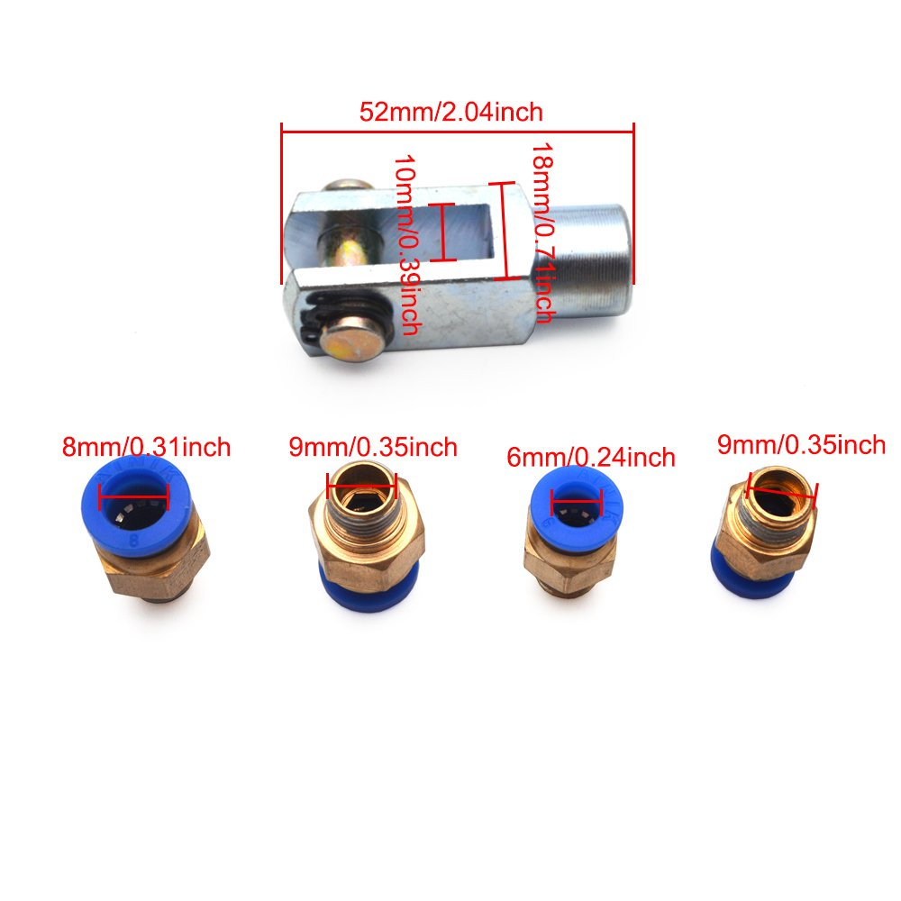 Sydien 25mm Bore 150mm Stroke Pneumatic Air Cylinder MAL Series with Y Connector and 4Pcs Pneumatic Quick Fitting (MAL25x150) by Sydien (Image #4)