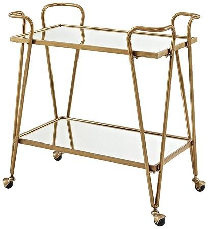 Linon AMZN0215 Gina Mid-Century Bar Cart Gold