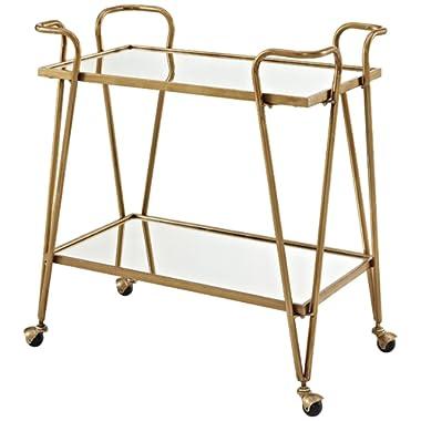 Linon Gina Mid-Century Bar Cart, Gold