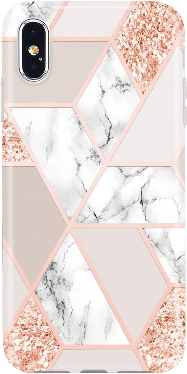 JIAXIUFEN Compatible iPhone X iPhone Xs Case Sparkle Glitter Shiny Rose Gold Metallic Marble Slim Shockproof Flexible Bumper TPU Soft Case Rubber Silicone Cover Phone Case for iPhone Xs iPhone X