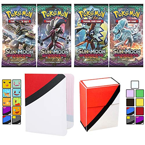 Totem World 4 Sun and Moon Guardians Rising Booster Packs with a Totem Deck Box & Mini Binder Collectors Album for Pokemon Cards GX Rare Holo Common or Uncommon TCG