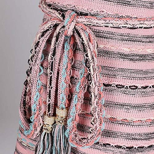 Elegante Sottile e Di Katylen Donna a Colori Corto Sottile da Mezza Maniche Corte Maglia a Abito Lunghezza Cintura in dnxnq7rZR