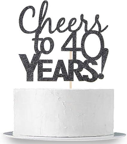 Wedding Anniversary Cake Bunting Party Decoration INNORU Cheers to 40 Years Cake Topper Black Glitter 40th Birthday