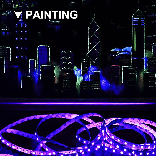Onforu 33ft LED UV Black Light Strip Kit, 600 Units UV Lamp Beads, 12V Flexible Blacklight Fixtures, 10m LED Ribbon, Non-Waterproof for Indoor Fluorescent Dance Party, Stage Lighting, Body Paint by Onforu (Image #3)