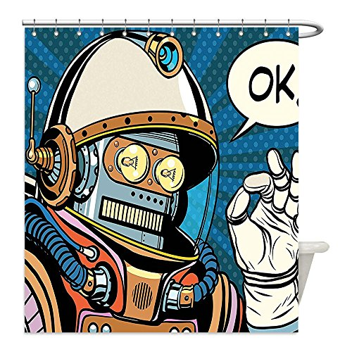 Futuristic Space Suit Costume (Liguo88 Custom Waterproof Bathroom Shower Curtain Polyester Modern Decor Futuristic Comics Super Heros Like Robot in a Spacesuit with OK Quote Artwork Multicolor Decorative bathroom)