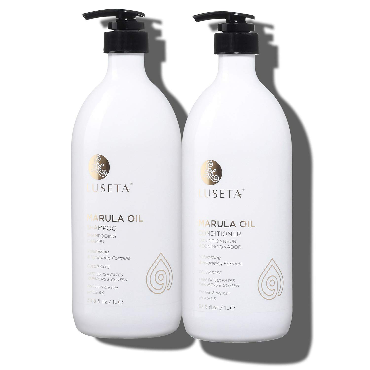 Luseta Marula Oil Hydrating Hair Shampoo and Conditioner Duo Set - Salon Quality Shampoo that Cleanses, Protects, Nourishes and Conditions, Sulfate-free, 2 x 33.8 Oz by L LUSETA